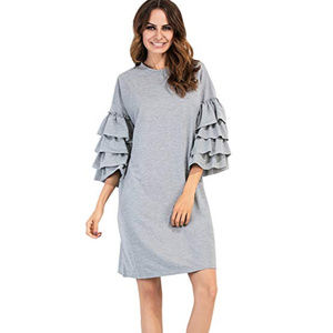 Dresses & Skirts - 🛒 Gray Sweater Dress with Ruffle Sleeves
